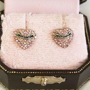 Juicy Couture Pink Rhinestone Logo Heart Earrings